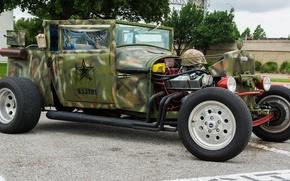 Картинка ретро, классика, hot-rod, classic car, милитари стиль