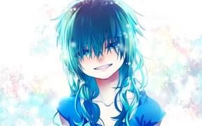 Картинка улыбка, слезы, девочка, голубые волосы, челка