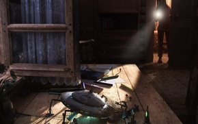 Обои стол, удивление, НЛО, ребенок
