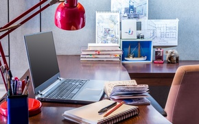 Картинка стиль, интерьер, книги, стена, настольная, notebook, карандашница, сувениры, блокноты, ноутбук, рисунки, рабочий стол, лампа, wallpaper., ...