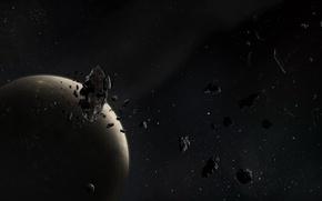 Картинка обломки, звезды, луна, планета, астероиды