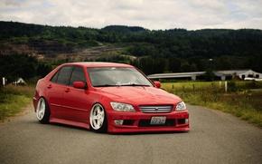 Картинка car, red, красная, japan, toyota, jdm, tuning, тойота, altezza, алтезза