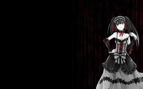 Картинка девушка, аниме, anime, красный глаз, чёрное платье, чёрные волосы, date a live