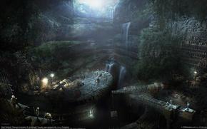 Картинка лучи, свет, пещера, jim maxwell, розкопки, строители