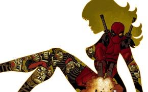 Картинка фон, силуэт, арт, art, Deadpool, Дэдпул.комиксы