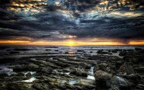 Обои море, закат, скалы