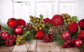 Картинка шарики, стол, игрушки, доски, ветка, Новый Год, Рождество, декорации, Christmas, шишки, сосна, New Year, елочные