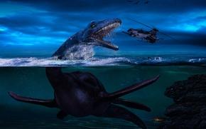 Картинка море, вода, Небо, динозавр, вертолёт, плезиозавр.