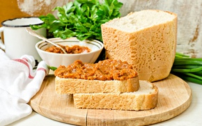 Обои зелень, хлеб, петрушка, кабачковая икра