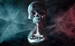 Картинка skull, life, death, hourglass