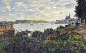 Картинка пейзаж, река, картина, Клод Моне, Сена в Аржантёе