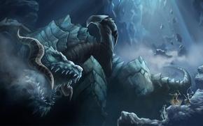 Картинка горы, камни, дракон, голова, эльфы, пасть, клыки, lineage 2, силуэты
