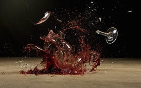Обои destruction, liquid, glass, wine