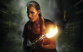 Картинка девушка, страх, тьма, огонь, жертва, монстр, Чужой, инопланетянин, пар, охотник, Ксеноморф, SEGA, огнемёт, Alien: Isolation, …