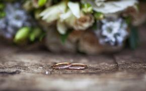 Картинка макро, букет, кольца, свадьба