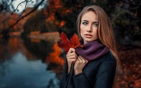 Картинка осень, девушка, природа, лист, портрет, Damian Piórko