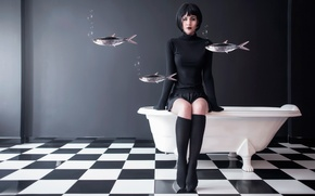 Картинка девушка, рыбы, ванна