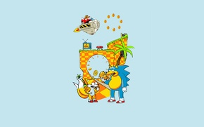 Обои детство, игра, лиса, ежик, пончики, приставка, ностальгия, зажрался, соник, sega, drive, Тейлз, доктор Эггман, 16 ...