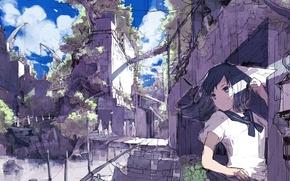 Картинка небо, девушка, облака, город, люди, дома, аниме, арт, форма, школьница, 921yamato, самолетик