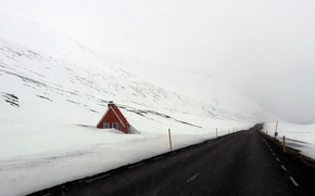 Картинка дорога, снег, дом