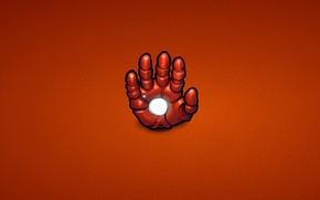 Обои красный, сталь, рука, минимализм, железный человек, marvel, комикс, iron man