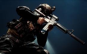 Обои оружие, фон, солдат, экипировка, Battlefield 4, штурмовая винтовка
