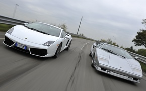 Картинка дорога, Lamborghini, Gallardo, передок, and, суперкары, Countach, Ламборгини, Галлардо, Каунтач