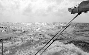Картинка море, яхта, горизонт, черно-белое