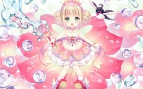 Картинка пузырьки, корона, лотос, девочка, жезл, крылышки, принцесса, волшебница, art, wasabi