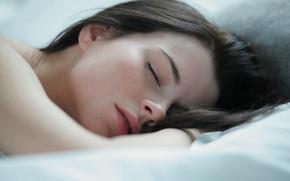 Картинка macro, pretty, lips, face, brunette, sleep, bed, sleeping, Valeria A, eyes closed, close up, asleep