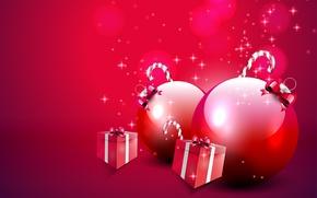 Обои коробки, шары, подарки, леденцы, ёлочные игрушки