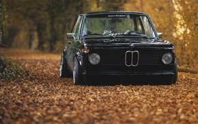 Обои осень, листва, BMW, black, oldschool