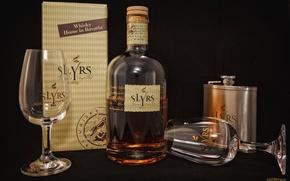 Картинка коробка, бокал, бутылка, алкоголь, виски, фляга