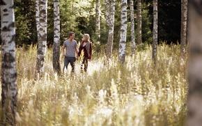 Картинка лес, березы, girl, love, прогулка, forest, двое, boy, birch, walking