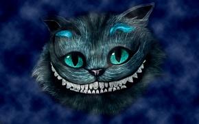 Обои синий, улыбка, голова, Alice in Wonderland, Алиса в стране чудес, Чеширский кот, Cheshire Cat
