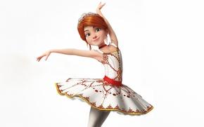 Обои платье, Балерина, Felicie Milliner, белый фон, прическа, мультфильм, Ballerina, танец, рыжая, поза, девочка