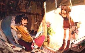 Картинка настроение, аниме, девочка, парень, друзья