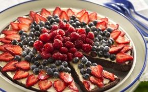 Картинка ягоды, малина, фон, widescreen, обои, еда, черника, клубника, пирог, торт, wallpaper, широкоформатные, background, тортик, сладкое, ...