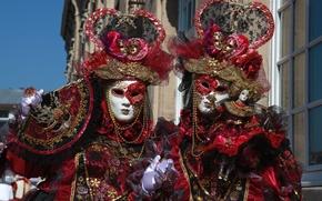 Обои пара, Венеция, карнавал, маска, экзотика, костюм