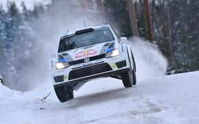 Картинка Зима, Авто, Белый, Снег, Спорт, Volkswagen, Машина, Скорость, Лого, Гонка, Капот, Фары, Red Bull, WRC, ...