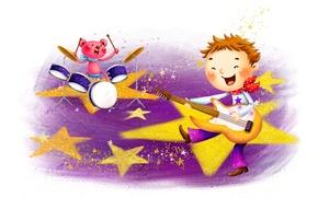 Картинка звезды, музыка, гитара