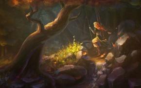 Картинка лес, вода, девушка, камни, качели, дерево, арт, речка
