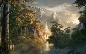Обои замок, лес, олень