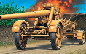 Картинка рисунок, грузовик, немцы, Вермахт, 17 cm K.Mrs.Laf, Kanone, немецкая тяжёлая полевая пушка-гаубица