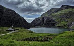 Картинка небо, облака, горы, лагуна, Faroe Islands, Фарерские острова, Saksun, Saken, Streymoy