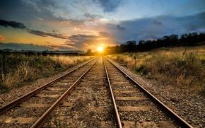 Обои железная дорога, пейзаж, перспектива