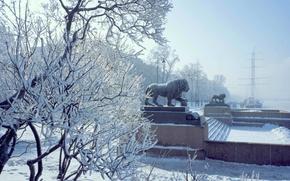 Картинка Зима, Город, Снег, Корабль, Набережная, Львы, Изморозь