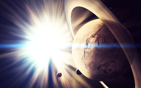 Картинка космос, звезды, свет, вселенная, планеты, сатурн