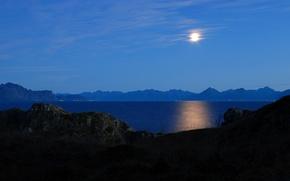 Картинка луна, небо, озеро, ночь, горы