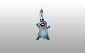 Картинка синий, заяц, минимализм, кролик, rabbit, ухи, радостный, красный нос
